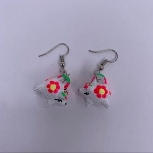 New Mexican White and Pink Piggy Earrings